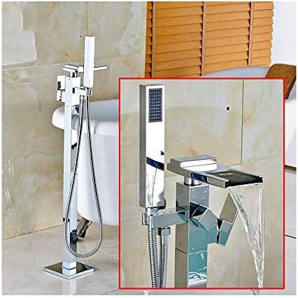 温水と冷水を備えた現代的なクロームの滝自立浴槽の蛇口真鍮のシングルハンドルのバスシャワーミキサーABSハンドヘルドシャワー付きフロアマウントタップ