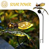 Bee on the Leaf-HAPJOY Garden Solar Lights Outdoor,Metal Solar Pathway LED Decorative Stakes Yard Decor Waterproof for Patio Lawn Walkway Review