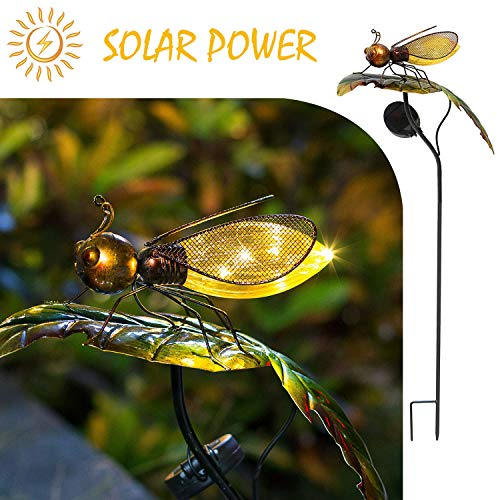 Bee on the Leaf-HAPJOY Garden Solar Lights Outdoor,Metal Solar Pathway LED Decorative Stakes Yard Decor Waterproof for Patio Lawn Walkway