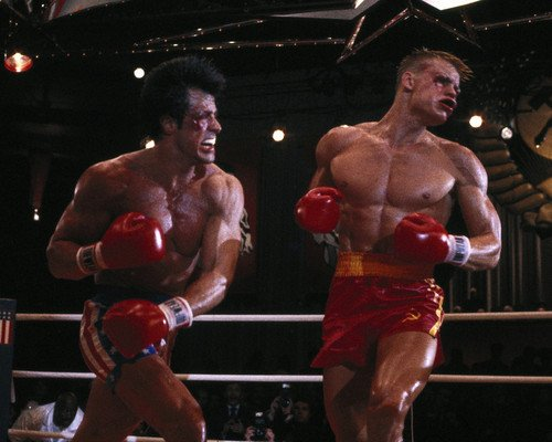 Sylvester Stallone and Dolph Lundgren in Rocky IV bloody fight in ring 16x20 Poster