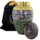 Iridescent Mosaic Cracked Glass Brass Metal Funeral Cremation Urn for Human Ashes - (Large)