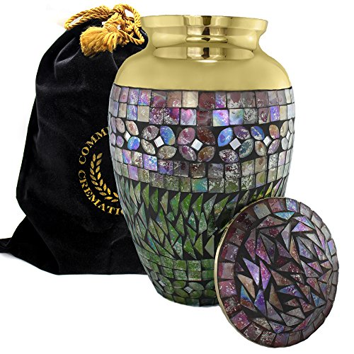 Iridescent Mosaic Cracked Glass Brass Metal Funeral Cremation Urn for Human Ashes - (Large) ()