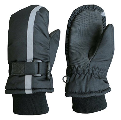 N'Ice Caps Kids Thinsulate Waterproof Reflector Winter Snow Ski Mittens (4-5 Years, Black Reflector)