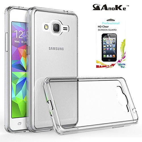 Samsung Grand Prime Case, Galaxy J2 Prime / Grand Prime Plus Case Clear , AnoKe Ultra Thin Slim Fit PC Back TPU Hybrid Protective Cell Phone Cover with HD Screen Protector for Samsung G5308 TM Clear