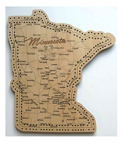 Minnesota State Shape Road Map Cribbage Board by Unknown