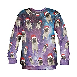 Fringoo Unisex Christmas Party Jumper Sweatshirt Xmas Sweater Funny Pullover Pug Santa S M L Present Gift Ugly Winter Sweasthsirt