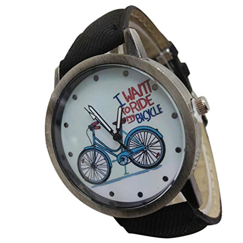 Gbell Vintage Watch Denim Bicycles Male And Female Students Couple Table  Black