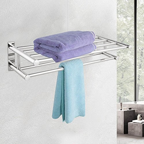 201 Stainless Steel Bathroom Wall Mounted Towel Rack Holder Dual Row Shelf for Home Hotel (Stainless Steel Heated Towel)