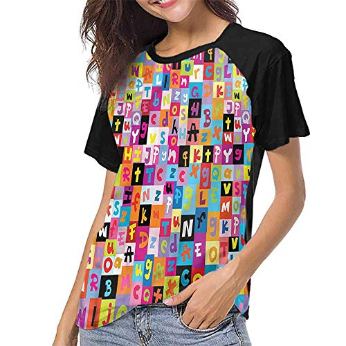 Mangooly Women's Baseball Short Sleeves,Abstract,Colored Alphabet Puzzle S-XXL Short Sleeve Round Neck ()