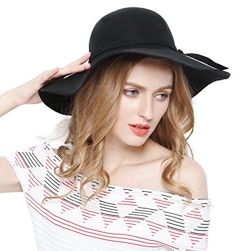 Women 100% Wool Wide Brim Cloche Fedora Floppy hat Cap,Black - Felt Floppy Hat