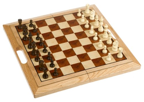 Wood Expressions WE Games Classic Folding Chess Set with Handle - Camphor Wood Board 16