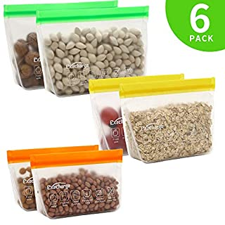 Reusable Food Storage Bags – EXEcharge 6 Pack Stand-Up Freezer Ziplock Food Reusable Bags,FDA Grade BPA FREE Extra Thick Leakproof Easy Seal Food Storage Sets for Kitchen Home|Travel|Outdoor Storage