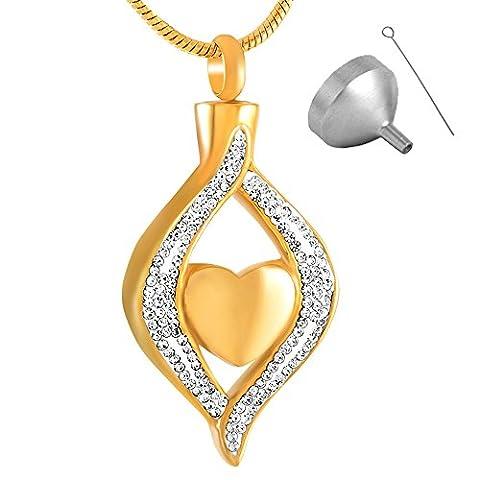 Diamond Heart Urn Pendant Necklace Memorial Ash Keepsake Cremation Jewellery-Gold - Navy Water Resistant Bracelet