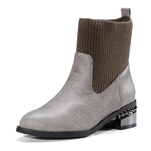 NVXIE Womens Boots Rough Heel Pointed Toe Plush Mouth Artificial PU Black Gray Fall Winter Party Work GRAY-EUR41UK758