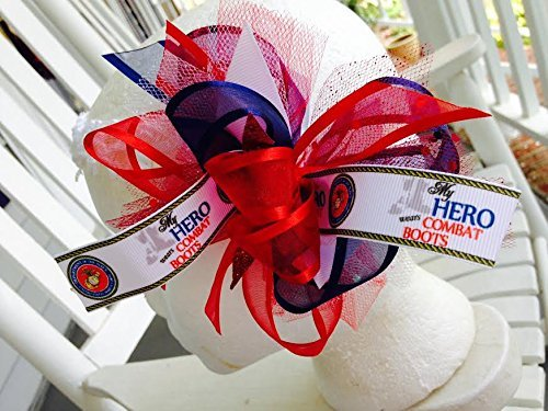 MY HERO WEARS COMBAT BOATS HAIR BOW TODDLER LITTLE GIRLS HAIRBOWS NAVY BLUE RED WHITE MOM DAD SOLDIER