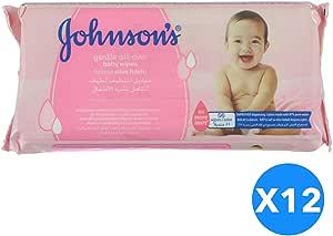 مناديل مبللة لتنظيف لطيف لكامل بشرة الاطفال من جونسونز، 672 منديل