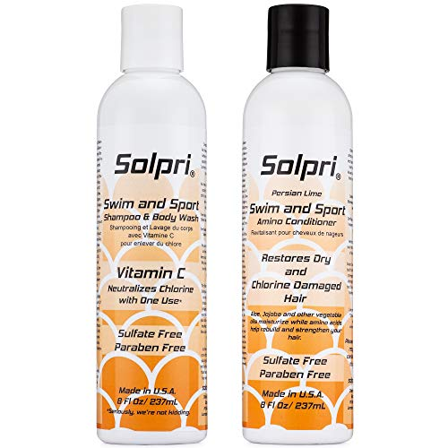 Solpri Swimmers Chlorine Swim Shampoo Body Wash and Conditioner with Vitamin C (16 Fl Oz Total)