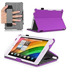 Navitech Purple Leather Hard Case / Cover With Automatic Sleep / Wake For The Acer Iconia A1 830