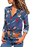Chase Secret Womens Blouse Fashion Button Down V Neck Bohemian Floral Print Loose Casual Henley Tops and Blouses Small Dark Blue