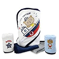 Spasilk 100% Cotton Hooded Terry Bath Towel with 4 Washcloths, Navy Nautical