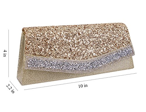 Sequins Evening Rhinestone Shiny Purse Prom Handbag Gold Womens Shoulder Party Bag for Clutch Wedding Gabrine z58wpn