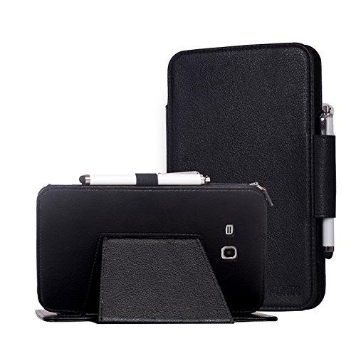 i-unik Samsung Galaxy Tab E 7.0 LITE Tablet (SM-T113) Slim Folio Standing Cover Case [Bonus Stylus] (Black)