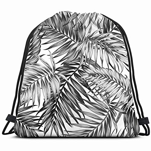 - hand drawn tropic exotic botanical leave nature Drawstring Backpack Gym Sack Lightweight Bag Water Resistant Gym Backpack for Women&Men for Sports,Travelling,Hiking,Camping,Shopping Yoga