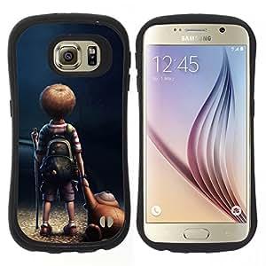 """Pulsar iFace Series Tpu silicona Carcasa Funda Case para Samsung Galaxy S6 , Historieta del niño del muchacho del oso de peluche Arte Amistad"""""""