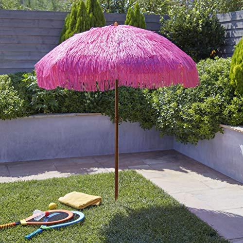 (6.5ft Outdoor Beach Umbrella Hula Thatched Tiki Umbrella Tropical Hawaiian Patio Straw Umbrella Raffia Umbrella with 8 Ribs, Press Button Tilt Pink Color (6.5 FT, Tiki Pink))