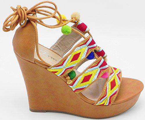 Kvinnor Nya Color Mode Plattformen Kil Pompong Öppen Tå Binda Upp Gilli Wrap Blue Denim Sandal Skor Tan