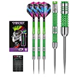 Peter Wright Snakebite Mamba - 22g - 90% Tungsten Steel Darts with Flights, Shafts & Red Dragon Checkout Card