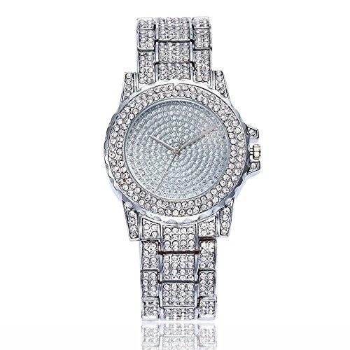 LIEJIE Fashion Rhinestone Stainless Steel Band Analog Quartz Round Wrist Watch Women's Crystal Studded Bezel, Alloy Bracelet Strap with Jewelry Clasp Watch (Silver)