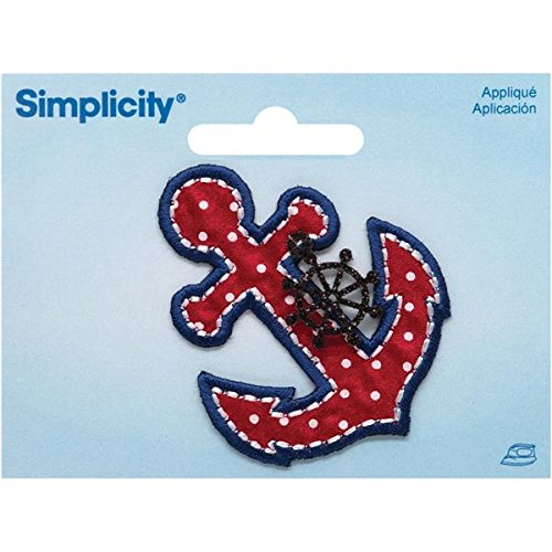 Wrights 19303920 Anchor with Ship's Wheel Charm Iron-On Applique, 2 by 2.87-Inch, 1-Pack