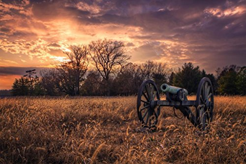 Civil War Cannon at Sunset Photo Art Print Mural Giant Poster 54x36 inch -
