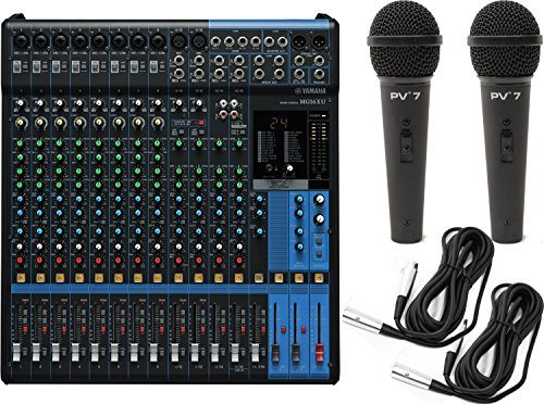 Powered Drum Monitor System (Yamaha MG16XU 16-Input Analog Mixer with Microphone Preamps , Dedicated Stereo Line Channels, Aux Sends , EQ , Digital Effects Audio Mixer USB Interface with 2 Microphones and 2 Microphone Cables)