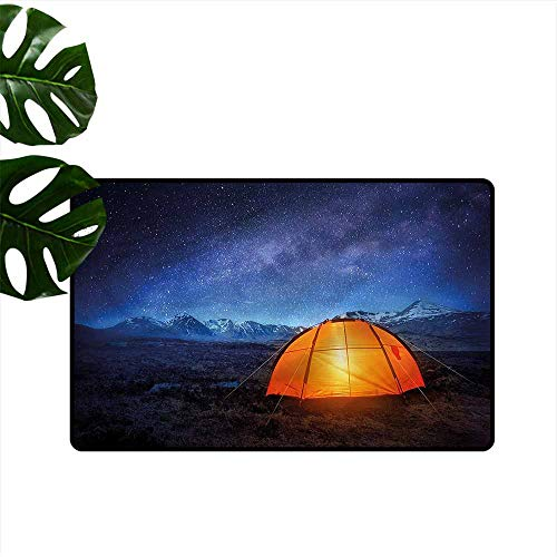 (Fashion Door mat Night Camp Tent Holiday Journey Non-Slip Door mat pad Machine can be Washed W31 xL47)