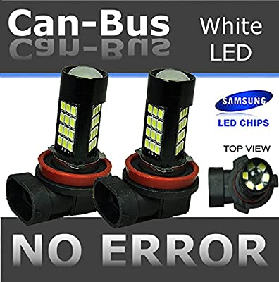 ICBEAMER 1 Set H11 12V 42W Canbus 42 LED Fit Fog Light Bulbs Only Replacement Replace Halogen Lamps [Color: Super White]