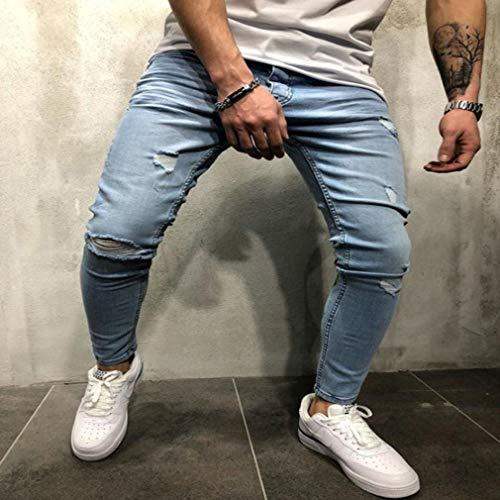 Pantaloni Jeans Da Skinny Stretch Fit Posteriore Slim Azzurro Junkai Uomo Estensibili Stampa Con Elasticizzati daIEdw