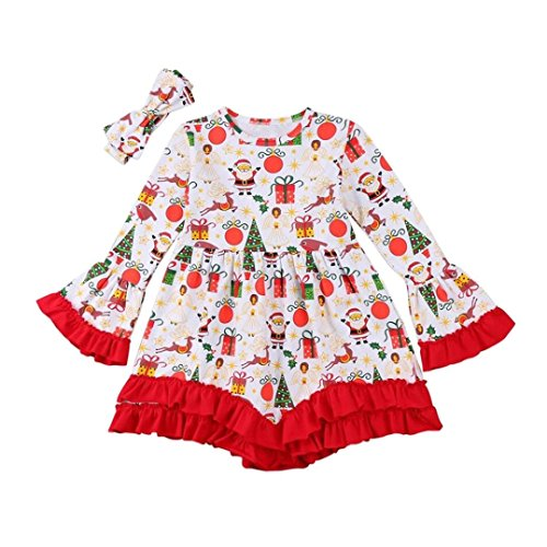 Straight Jacket Costume Ideas (Vovotrade Christmas Costume Baby Girls Adorable Butterfly Sleeve Princess Dress Cartoon Deer Print Outfit Tops Dress+Headbands Set 2Pcs (Red, 24M))