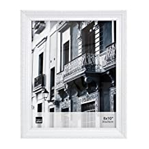 Kiera Grace Claire Picture Frame, 8 by 10-Inch, White with Raised Leaf Border