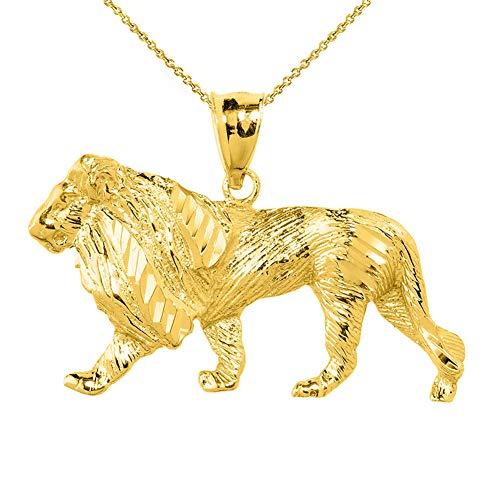 Men's Fine 14k Yellow Gold Lion Pendant Necklace with 20