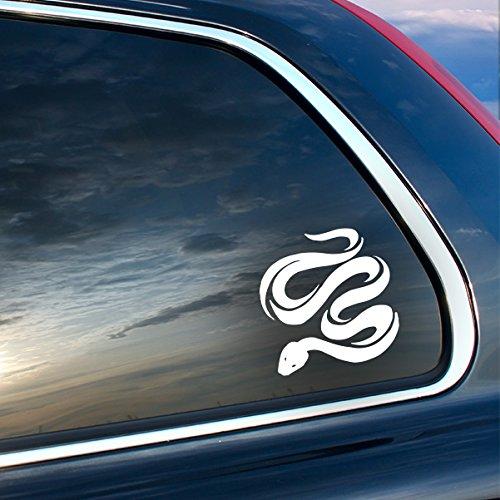 "Coiling Snake Vinyl Sticker - White - Car Bumper Window Sticker 4"" x 4"""