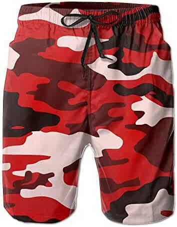 6c89e0b819 AA WIU Red Camouflage Men Summer Quick Dry Swim Trunk Drawstring Surf Board Shorts  Swimwear