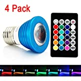 xtf2015 Blue Case 3W E27 LED Bulb 16 Colors Changing Lamp RGB Multi-color LED Light Bulb Includes Remote-with Memory Function for Stage/Bars/KTV/Party/Show Set of 4