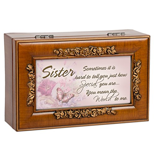 Special Sister Wood Finish Rose Jewelry Music Box - Plays You are my Sunshine