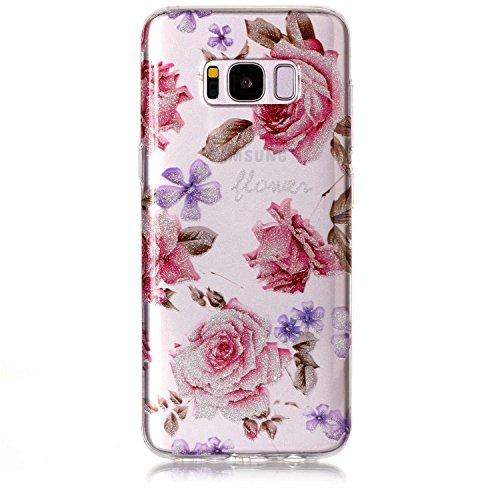 Funda Samsung Galaxy S8,SainCat Moda Alta Calidad suave de TPU Silicona Suave Funda Carcasa Caso Parachoques Diseño pintado Patrón para CarcasasTPU Silicona Flexible Candy Colors Ultra Delgado Ligero  Rose