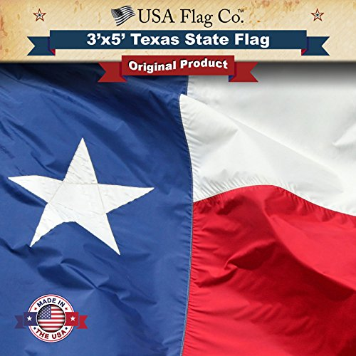 USA Flag Co. Texas Flag 100% American Made: The Best 3x5 Texas State Flag Made in The United States of America (3 by 5 -
