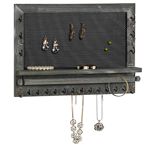 - MyGift Wall-Mounted Rustic Gray Wood & Metal Mesh Earring Organizer with 20 Jewelry Hooks and Necklace Bar