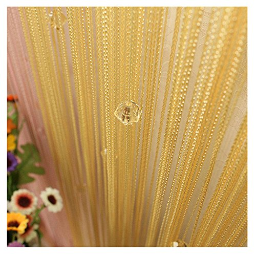 FOCUSSEXY Decorative Door String Curtain Beads Wall Panel Fringe Window Divider Blind for Wedding Coffee House Restaurant Parts Crystal Tassel Screen Home Decoration - - Gold Crystal Blackout Blinds