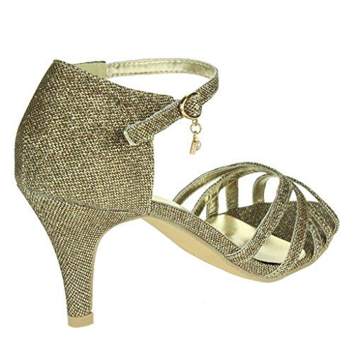 Mujeres Señoras Noche Fiesta de bodas Prom Nupcial Sparkly Correa de tobillo Tacón medio Sandalias Zapatos tamaño Marrón